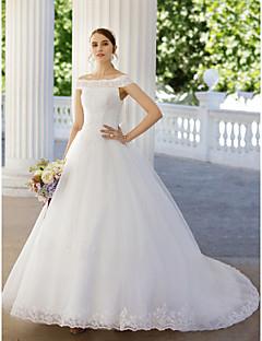 Báli ruha Katedrális uszály Tüll Esküvői ruha val vel Gyöngydíszítés Rátétek által AMGAM