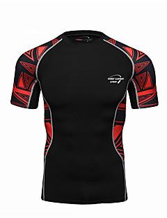 Realtoo Herre T-skjorte til jogging Kortermet Fort Tørring Komprimering Topper til Yoga & Danse Sko Løper Trening & Fitness Terylene Tett