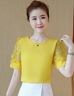 Women's Casual/Daily Simple T-shirt,Solid Round Neck Short Sleeves Nylon