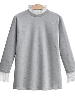 Women's Going out Vintage T-shirt,Solid Round Neck Long Sleeves Others