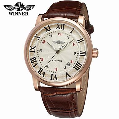 8abfa3bd6 رخيصةأون ساعات رجالية-WINNER رجالي ساعة المعصم داخل الساعة أتوماتيك جلد أسود  / بني 30