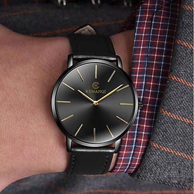 ab0ce1956 رجالي ساعة فستان كوارتز جلد أسود / بني ساعة كاجوال مماثل موضة الحد الأدنى -  أسود / أزرق أسود / ذهبي أبيض / البيج سنة واحدة عمر البطارية