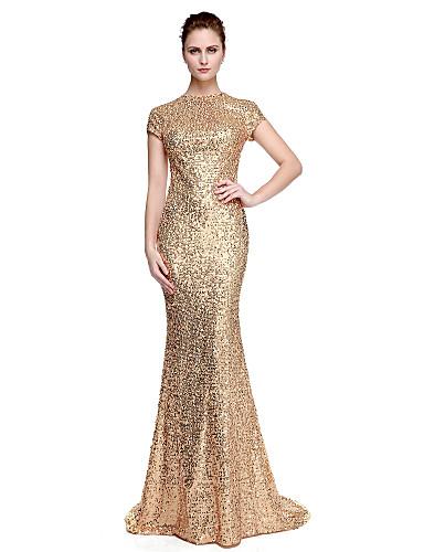 cc3722f380fd A tubino Con decorazione gioiello Strascico a terra Con strass Brillante e  glitterato   Stile VIP Serata formale Vestito con Lustrini di TS Couture®