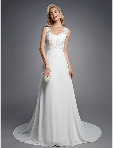 0283ba526601 Χαμηλού Κόστους Νυφικά-Γραμμή Α Λαιμόκοψη V Μακρύ Σιφόν   Δαντέλα Φορέματα  γάμου φτιαγμένα στο