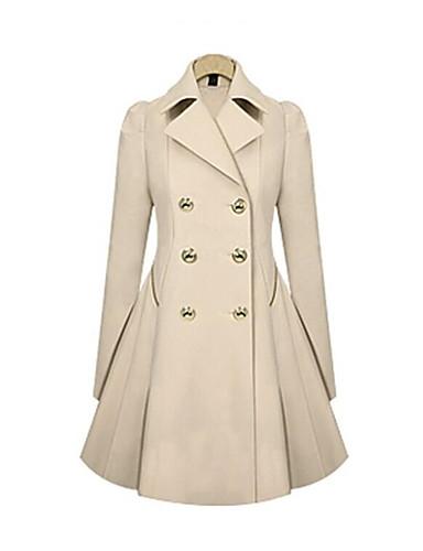 f478fef7eb9 여성용 일상 빈티지 / 베이직 가을 겨울 긴 트렌치 코트, 솔리드 접히고 젖혀짐 긴 소매 면 / 폴리에스테르 블랙 / 베이지 / 네이비  블루 XL / XXL / XXXL