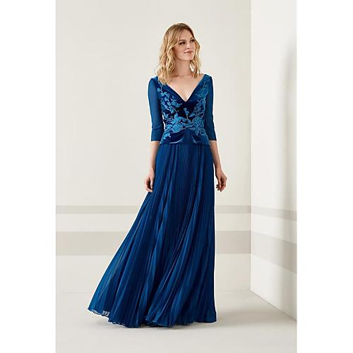 6de173d2ffc Sheath   Column V Neck Floor Length Satin   Velvet Mother of the Bride Dress  with Bow(s) by LAN TING BRIDE®