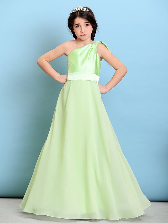 29c5cdb05 A-Line One Shoulder Floor Length Chiffon / Stretch Satin Junior Bridesmaid  Dress with Bow