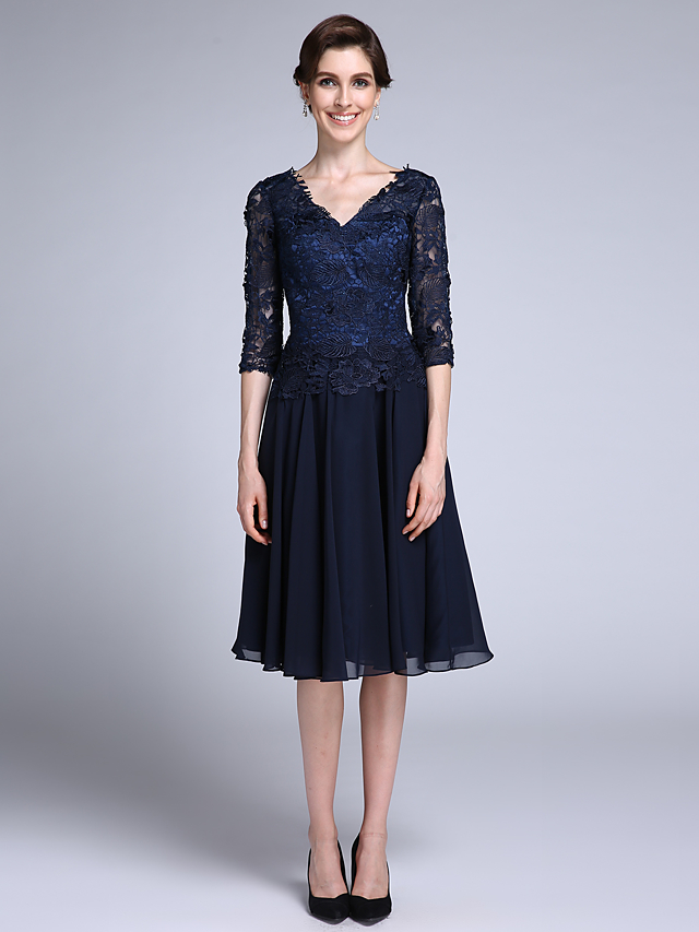 0f463d1d3c4 Sheath   Column V Neck Knee Length Chiffon   Sheer Lace Mother of the Bride  Dress with Lace by LAN TING BRIDE®