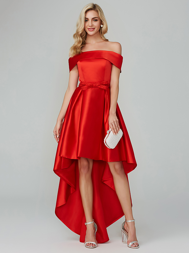 30bea378fd99 A-Line Off Shoulder Asymmetrical Satin Cocktail Party Dress with Bow(s) by TS  Couture®