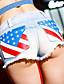 Mulheres Calças Sensual Shorts / Jeans Algodão Sem Elasticidade Mulheres
