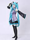 Inspirat de Vocaloid Hatsune Miku Video Joc Costume Cosplay Costume Cosplay Rochii Fără mâneci Bluză Fustă Cravată Mâneci Centură Șosete