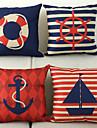 set de 4 nautice model bumbac / lenjerie decorative pernă capac