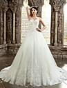 A-line sweetheart capelă rochie de dans rochie de mireasa cu aplicatii de lan ting bride®