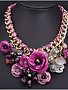 Pentru femei Coliere cu Pandativ Flower Shape Piatră Preţioasă Aliaj Bijuterii Statement plaited Festival/Sărbătoare costum de bijuterii