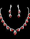 Roșu-aprins costum de bijuterii Piatră Preţioasă Diamante Artificiale Picătură Σκουλαρίκια Lănțișor Pentru Cadouri de nunta