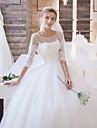 Rochie de bal pentru iluziile de gât matura / perie tren rochie de mireasa cu aplicatii de lan ting bride®