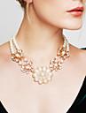 Pentru femei Colier de putere Coliere Perle Flower Shape Perle Bijuterii Statement costum de bijuterii Vintage La modă Bijuterii Pentru