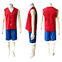 cheap Anime Costumes-Inspired by One Piece Monkey D. Luffy Anime Cosplay Costumes Cosplay Suits Patchwork Sleeveless Vest / Shorts For Men's