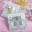 "cheap Coaster Favors-""With This Ring"" Wedding Rings Design Glass Photo Coaster Favor (2 per Set)"