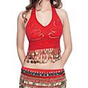 זול הלבשה לריקודי בטן-ריקוד בטן חולצות בגדי ריקוד נשים הצגה פוליאסטר חרוזים / מטבעות ללא שרוולים / ביצוע