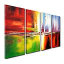 preiswerte Wanduhren auf Leinwand-Hang-Ölgemälde Handgemalte - Abstrakt Segeltuch Vier Panele