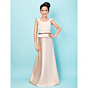 cheap Wedding Gifts-A-Line / Princess Scoop Neck Floor Length Satin Junior Bridesmaid Dress with Appliques / Sash / Ribbon by LAN TING BRIDE® / Spring / Summer / Fall / Apple / Hourglass