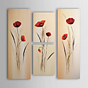 cheap Oil Paintings-Oil Painting Hand Painted - Floral / Botanical Canvas Four Panels