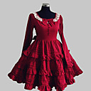cheap Historical & Vintage Costumes-Princess Sweet Lolita Dress Women's Dress Cosplay Red Long Sleeve Knee Length Costumes