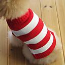 voordelige Pet Christmas Costumes-Kat Hond Truien Hondenkleding Gestreept Rood Katoen Kostuum Voor huisdieren Heren Dames Modieus Kerstmis
