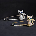 cheap Religious Jewelry-Crystal Brooches - Imitation Diamond Cat, Animal Luxury, Party, Casual Brooch Gold / Silver For Party / Special Occasion / Birthday