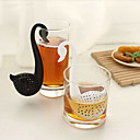 cheap Coffee and Tea-Swan Shaped Teaspoon Tea Strainer (Random Color) Closet Storage