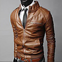 cheap Choker Necklaces-Men's Basic Leather Jacket Jacket-Solid Colored
