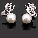 cheap Earrings-Women's Stud Earrings - Pearl Butterfly Ladies, Basic, Fashion, Cute White / Sliver For Party Daily Casual