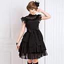 ieftine Peruci Lolita-Lolita Stil Gotic lolita Șifon Pentru femei Rochii Cosplay Negru Fără manșon Lungime medie