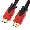 preiswerte USB Kabel-10m 30 Fuß schwarz& rot 1080p hdmi hdmi v1.4 zu High Speed HDMI Kabel w / Ferritkerne hdmi