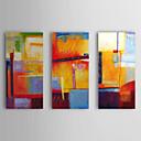 baratos Pinturas Abstratas-Pintados à mão Abstrato Horizontal Tela de pintura Pintura a Óleo Decoração para casa 3 Painéis