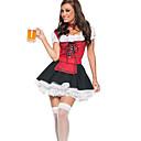 billige Voksenkostymer-Oktoberfest Servitør Cosplay Kostumer Party-kostyme Dame Jul Halloween Nytt År Festival / høytid Drakter Rød / Svart Lapper