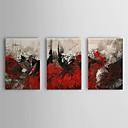 abordables Óleos-Pintada a mano Abstracto Horizontal Lona Pintura al óleo pintada a colgar Decoración hogareña Tres Paneles