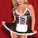 abordables Uniformes Sexy-Uniformes Uniforme sexy Uniformes de Femme de Ménage Lingerie Costume de Cosplay Mosaïque Robe Casque Strings