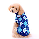 cheap Dog Clothes-Dog Sweater Dog Clothes Plaid / Check Blue Woolen Costume For Spring &  Fall Winter Men's Women's Classic Fashion