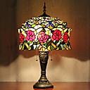 abordables Lampe Tiffany-Yourte mongole Lampe de table design, 2 Light, Tiffany Résine Peinture sur verre