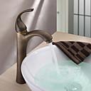 billige Vandhaner til badeværelset-Antik Basin Keramik Ventil Et Hul Enkelt håndtag Et Hul Antik Messing, Håndvasken vandhane