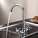 billige Kjøkkenkraner-kjøkkenkran - et hulls krom høy / høybue dekk montert tradisjonell / to håndtak ett hull