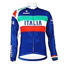 hesapli Bisiklet Formaları-Malciklo Erkek Uzun Kollu Bisiklet Forması İtalyan şampiyon Ulusal Bayrak Bisiklet Forma Üstler Sıcak Tutma Polar Astarlı Nefes Alabilir Spor Dalları Kış Polyester Tüylü Kumaş Dağ Bisikletçiliği Yol