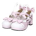 baratos Sapatos Lolita-Sapatos Doce Sweet Lolita Salto Alto Sapatos Laço 4.5 cm CM Rosa Pálido Para Mulheres Couro PU / Couro de Poliuretano Trajes da Noite das Bruxas / Princesa
