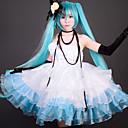 Χαμηλού Κόστους Περούκες Ηρώων Βιντεοπαιχνιδιών-Εμπνευσμένη από Vocaloid Hatsune Miku Βίντεο Παιχνίδι Στολές Ηρώων Κοστούμια Cosplay / Φορέματα Patchwork Φόρεμα / Γάντι / Γάντια Κοστούμια Halloween