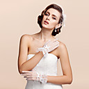 cheap Historical & Vintage Costumes-Lace / Tulle Wrist Length Glove Bridal Gloves / Party / Evening Gloves With Bowknot