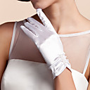 cheap Party Gloves-Satin Wrist Length Glove Bridal Gloves With Ruffles