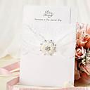 olcso Esküvői meghívók-Felöltő & Zseb Esküvői Meghívók Meghívók Virágos stílus Gyöngy-papír 18,4*12,8 cm Strasszkő / Gyöngy
