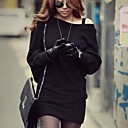 cheap Women's Sweaters-Women's Off The Shoulder Batwing Sleeve Knitted Mini Dress Plain long sleeved dress